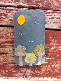 handmade felt phone case - trees on Etsy, $15.00