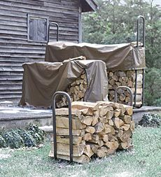 Elevated Powder-Coated Tubular Steel Firewood Racks and Covers - Plow & Hearth