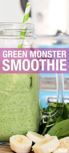 Go green with this recipe! This green monster smoothie is so yummy and packed with nutritious spinach.