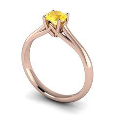 round citrin, brilliant cut, centr stone, solitair engag, cut round, engag ring, 18ct rose, carri engag, engagement rings