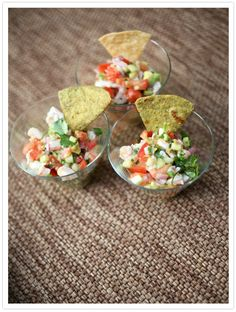 i'm always up to try a new ceviche recipe...  Shrimp Ceviche with Tortilla Chips