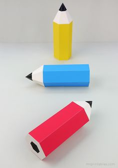 Free printable pencil-shaped gift boxes. From Mr Printables.