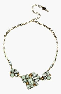 Loving this pearl and mint stone necklace by Betsey Johnson.