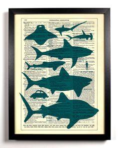 vintage books, charts, book art, offic art, book craft, book upcycl, shark art, print, dictionary art