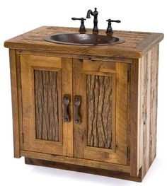 Perfect bathroom vanity for a log home!