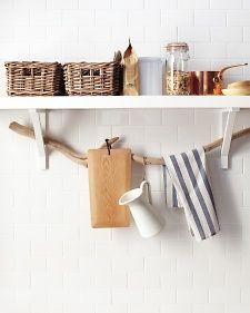 decor, driftwood, kitchen shelves, towel racks, extra storage, tiny kitchens, tree branches, bathroom, dish towels