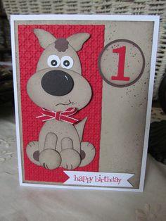 PUPPY Punch Art Handstamped Happy Birthday by PrettyOnPaperShop, $6.00