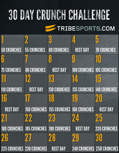 Take the 30 Day Crunch Challenge now on Tribesports.com | #Workout #Crunch #Crunches #Fitness #Fitspo #Tribesports #Exercise