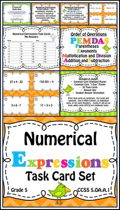 Numerical Expressions and Order of Operations Task Card and Poster Set.  Includes Common Core Posters, I Can Posters, PEMDAS Poster, Task Cards, Challenge Cards, Answer Key.  Perfect for Grades 3-6!