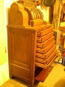 ANTIQUE OLD NATIONAL CASH REGISTER Includes 9 Drawer Tiger Oak Cabinet 1923   eBay