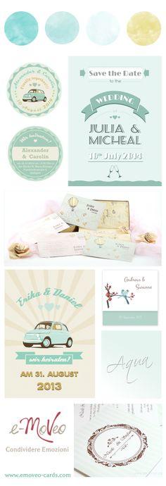 Wedding mint color. Invitation cards by e-MoVeo Cards. Hochzeitseinladungen Aquamarin Farbe - Inviti color Acquamarina www.emoveo-cards.com