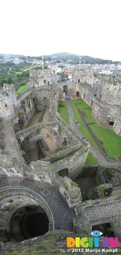 View down Conwy Castle tower in the rain