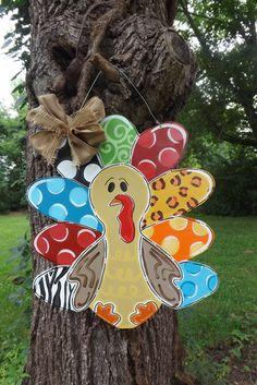 Turkey Door Hanger, Thanksgiving Door hanger, Fall Door hanger, Happy Fall Y'all, Fall Decor, Thanksgiving Decor, Personalized Door Hanger on Etsy, $48.00