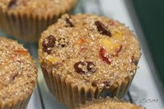 These sound great! Bob's Red Mill cereal muffins with peaches, strawberries and raisins featuring 7 Grain Cereal
