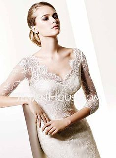 $198.89 - Mermaid V-neck Chapel Train Satin Lace with Lace Beadwork