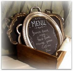 Silver trays turned into chalkboards.