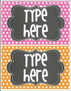 6 Blank Editable Polka Dot Tags/ Labels for your classroom. {Bright Polka Dot with Chalkboard}  These tags measure ~8x5 inches. (2 tags per page)