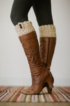 Knitted Boot Cuffs Ivory Boot Toppers Multi-Color Ivory Yarn Short Leg Warmers Faux Boot Socks with Accent Buttons and READY TO SHIP on Etsy, $28.99