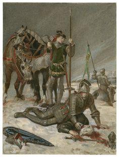 Alexandre Bida. Henry V, Act IV, scene 6: The Duke of York mourns the death of the Duke of Suffolk. Watercolor, 19th century. Folger Shakespeare Library.