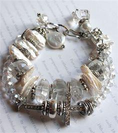 artisan keshi pearl cross chunky charm bracelet