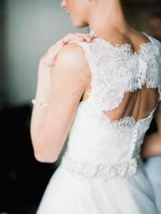 Lace back Martina Liana #dress Photography: Meghan Boyer Photography - meghanboyerweddings.com  Read More: http://www.stylemepretty.com/2014/09/01/classic-maryland-country-club-wedding/