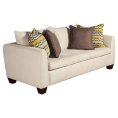Upholstered sofa with foam cushioning. Made in the USA.   Product: SofaConstruction Material: Polyester and wood