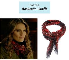 "On the blog: Kate Beckett's (Stana Katic) red printed scarf | Castle - ""In the Belly of the Beast"" (Ep. 617) #tvstyle #tvfashion #fashion"
