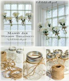 Hang from tree branches, trellis, rafter, or other over head for wedding decoration or floating centerpieces. Simply attach mason jars to hooks using Jute String. Fill with Fresh Cut flowers