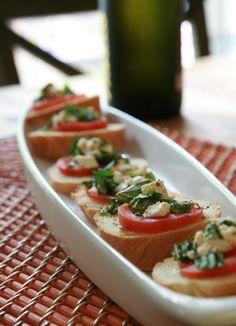 Tomatoes Fresh Herbs and Feta Crostini