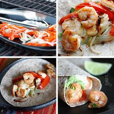 Shrimp Fajitas - My husband loves fajitas! It's the only thing he ordered while we vacationed in Mexico... every single day! I could never order the same meal everyday, but that's a different story. These shrimp fajitas he claimed were better than any he's ever eaten in a restaurant. Wow! Now that's a compliment from my fajita loving husband! #sandwich #recipe #seafood