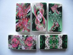 Pink & Green Abstract Domino Magnets by BuffaloCreekCrafts on Etsy, $6.50