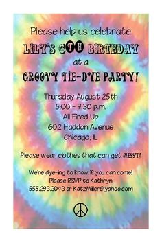 Tie Dye Birthday Party Invitation by PracticallyDarling on Etsy