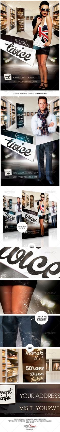 Feels Twice Flyer Template / $6. ***This flyer is perfect for the promotion of Shops/Boutiques, Sales/Promotions, Fashion Shows, New Collections, Events, Club Parties or Whatever you Want!.***