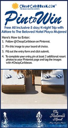 Pin for your chance to win a 5 day/4 night all-inclusive trip for 2 to The Beloved Hotel from CheapCaribbean.com #CheapCaribbean