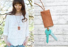 Leather keychain necklace