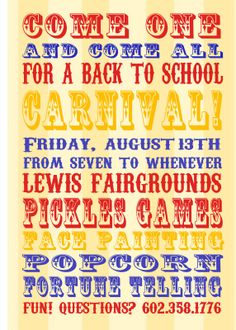 Back To School Carnival Invite - font - Carnivalee Freakshow and Coffee Tin