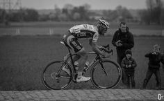 A little boy cheering Tom Boonen on as he exits sector six of Paris Roubaix.
