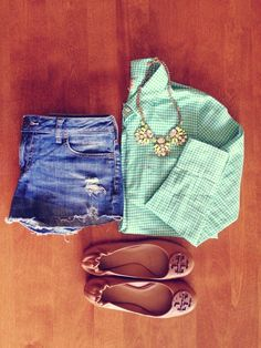Cut-off jean shorts, Indian style flat shoes, jeweled necklace  mint checkered cowboy tee.