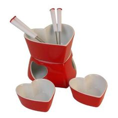 Valentine's Day dessert party, anyone? Heart Fondue Set