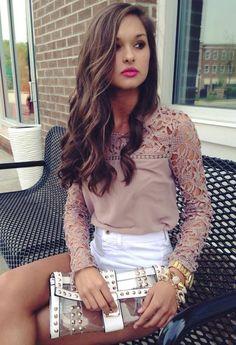 Her hair + shirt. //