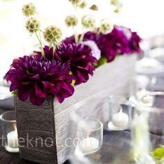 flower centerpieces, color, purple flowers, dahlia table, wooden boxes, wood boxes, wedding centerpieces, green flowers
