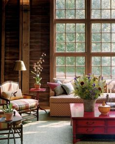 Wonderful rustic living room in a converted Pennsylvania barn home