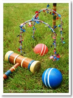 Croquet is fun for both kids and adults, and it can add to your patriotic decorations. Just tightly wrap the wickets with the star garland and your lawn will sparkle with red, white and blue.