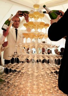 Kate Moss' Wedding - Champagne Pyramid. I WILL HAVE THIS AT MY WEDDING.