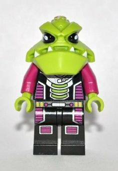 LEGO Alien Trooper Minifigure: Lego Alien Conquest by LEGO. $2.20. Black torsos with a large silver device printed on front (possibly a life-support unit). Uniquely molded Lime Green heads. Purple arms and lime green hands. Minifig released in 2011. Appears in 4 Alien Conquest sets.. Black legs, printed with medium lilac padding.. Alien Trooper mini figures (from Lego Alien Conquest) are the bulk of the alien army, and primarily fight on land, although they are sometimes s...