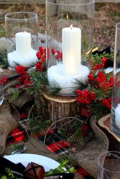 Fill hurricanes with epsom salt to make a snowy candle holder, then set atop wooden pavers to add dimension to your tabletop.