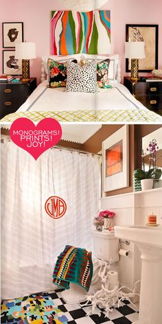Love the monogram on the curtain