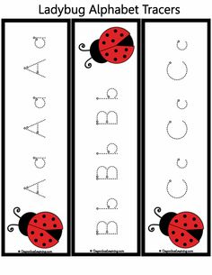 *FREE*  Ladybug Alphabet Tracers featuring upper and lower case alphabet letters from CrayonboxLearning.com