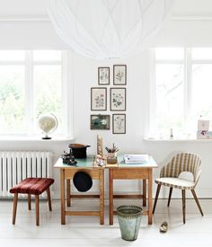 """Beautiful Montessori Toddler Work space: a perfect example of how a """"child's learning space"""" does not have to mean primary coloured furniture and laminated wall posters. This is beautiful."""