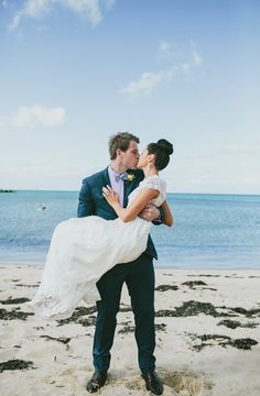 beachside wedding portrait, photo by Love Katie + Sarah http://ruffledblog.com/bellarine-peninsula-wedding #wedding #portrait